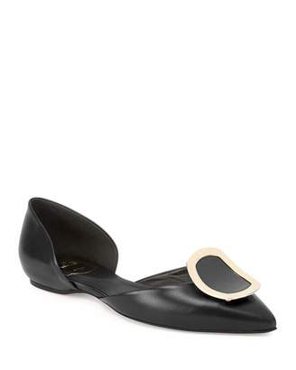 Roger Vivier Sexy Choc Leather Ballet Flats, Black