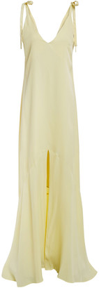 Les Héroïnes Bow-detailed Satin-crepe Slip Dress