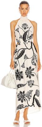 Johanna Ortiz Ancient Dynasty Embroidered Maxi Dress in Ecru & Black   FWRD