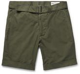 Officine Generale Julian Slim-fit Garment-dyed Cotton-poplin Shorts - Army green