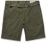 Officine Generale Julian Slim-Fit Garment-Dyed Cotton-Poplin Shorts