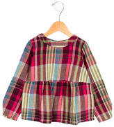 Bonpoint Girls' Plaid Gathered-Accented Top