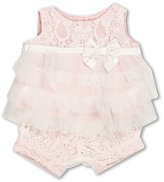 Biscotti Tiered Lace Top and Bloomer Set (Infant) (Ivory/Pink) - Apparel