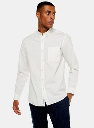 Topman Ecru Stretch Skinny Oxford Shirt