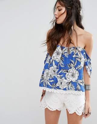 Lovers + Friends Floral Print Open Back Off-Shoulder Top-Blue