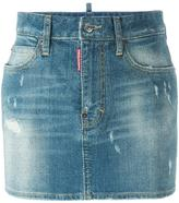 DSQUARED2 microstudded denim skirt - women - Cotton/Calf Leather/Polyester/Aluminium - 38
