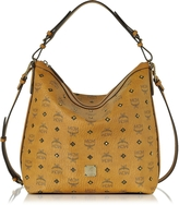 MCM Gold Visetos Cognac Small Hobo Bag