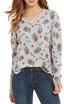 Love on a Hanger Kiss Me Christmas Mistletoe Printed Dolman Sweater