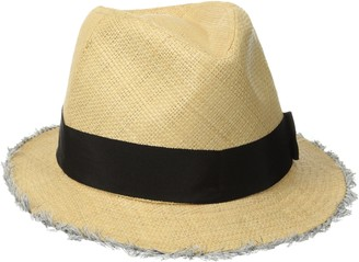 San Diego Hat Company Women's Raffia Fray Edge Panama Fedora with Ribbon Bow
