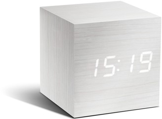 GINGKO Cube White Click Clock With White Led - White