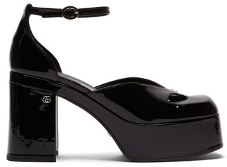 Gucci Marvin Cutout Patent-leather Platform Pumps - Black