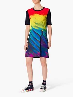 Paul Smith Feather Print Photo T-Shirt Dress, Navy/Multi