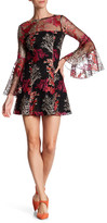 Jay Godfrey Bell Sleeve A-Line Embroidery Dress
