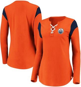 Women's Fanatics Branded Orange Edmonton Oilers Iconic Long Sleeve Lace-Up V-Neck T-Shirt