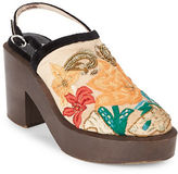 Free People Beaded Floral-Embroidered Wooden Platform Clogs