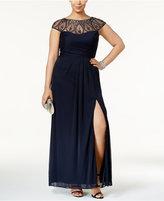 Xscape Evenings Plus Size Embellished Faux-Wrap Gown