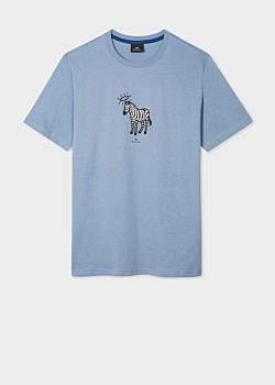 Men's Sky Blue 'Angel Zebra' Print Organic-Cotton T-Shirt