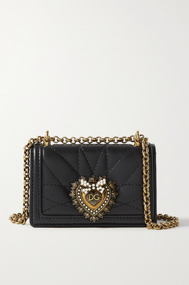 Dolce & Gabbana Devotion Micro Embellished Quilted Leather Shoulder Bag - Black