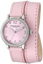 Stuhrling Original Vogue 646 Women's Quartz Watch with Pink Dial Analogue Display and Pink Leather Strap 646.01
