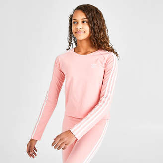 adidas Girls' 3-Stripes Cropped Long-Sleeve T-Shirt