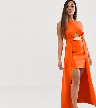Asos DESIGN Petite premium halter keyhole mini dress with gold belt detail-Orange
