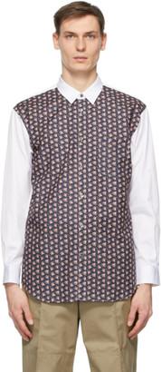 Comme des Garçons Shirt White and Black Floral Shirt