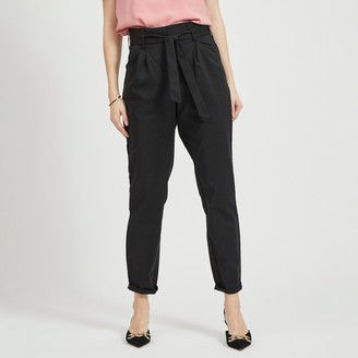 Vila High Waist Paperbag Trousers in Cotton Mix