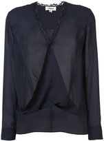 L'Agence twisted effect V neck blouse