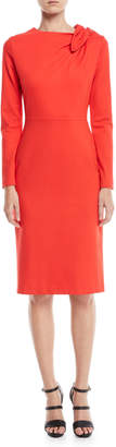 Escada Long-Sleeve Bow-Shoulder Jersey Sheath Dress