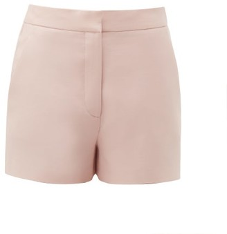 Valentino High-rise Wool-blend Crepe Shorts - Womens - Pink