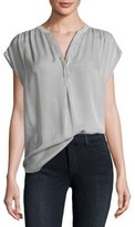 Joie Doshia Cap-Sleeve Striped Silk Shirt, Gray