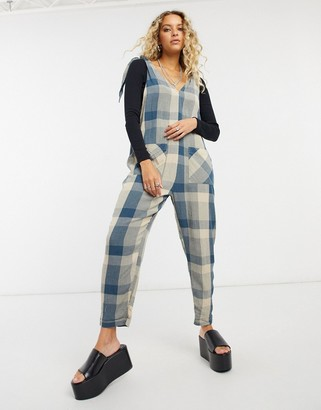 Free People Don't You Want This gingham jumpsuit in blue