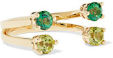 Delfina Delettrez 9-karat Gold, Peridot And Topaz Phalanx Ring - one size