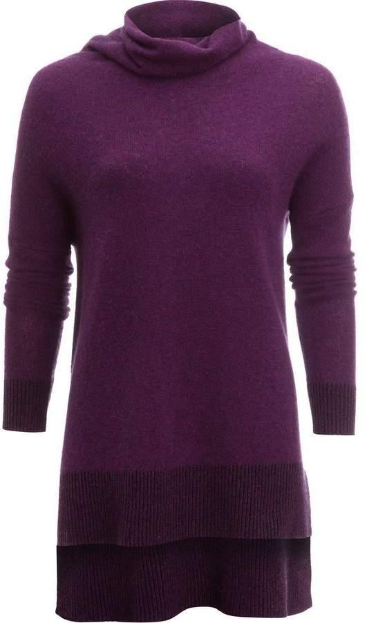 White + Warren Cashmere Plaited Trim Funnel Neck Sweater - Women's
