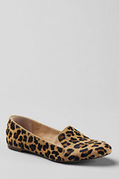 Lands' End Women's Vivian Calf Hair Venetian Flat Shoes-Leopard