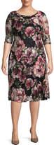 Melrose 3/4 Sleeve Floral Fit & Flare Dress-Plus