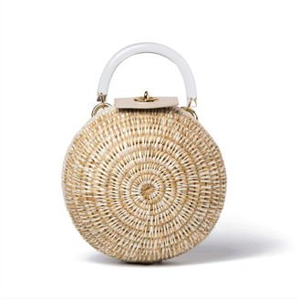Khokho Woven Grass & Leather Round Ball Bag In Chalk & Natural