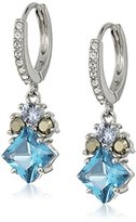 Judith Jack Sterling Silver/Swarovski Marcasite Blue Hoop Drop Earrings