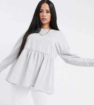 Yours smock peplum sweatshirt in gray