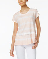 Style&Co. Style & Co Petite Cotton Striped Tie-Dye Flounce Top, Only at Macy's