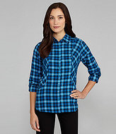 Westbound Plaid Roll-Tab Blouse