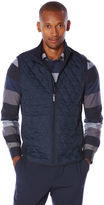 Perry Ellis Quilted Front Mixed Media Vest