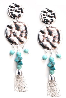 Marc Labat 12E86 Ethnic Chic Women's Earrings - Silver-Plated Metal with Glass Beads