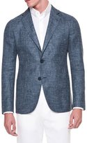Giorgio Armani Solid Melange Two-Button Jacket, Gray/Blue