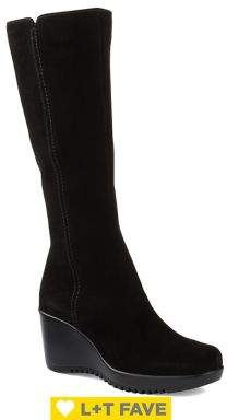 La Canadienne Gaby Waterproof Tall Suede Wedge Boots
