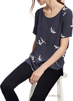 Joules Hannah Swan Print Top, Grey Swans