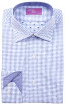 Lorenzo Uomo Long Sleeve Trim Fit Square Gingham Dress Shirt