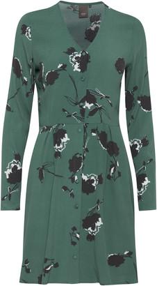 Ichi Banks Floral Printed Dress - 36 (UK10) - Black/Green/White