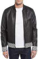 Ovadia & Sons Checker-Trim Leather Biker Jacket