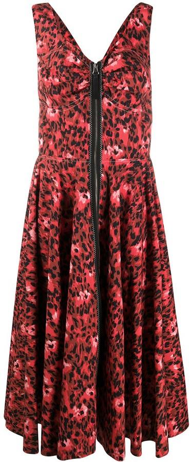 Marni Abstract Leopard-Print Midi Dress